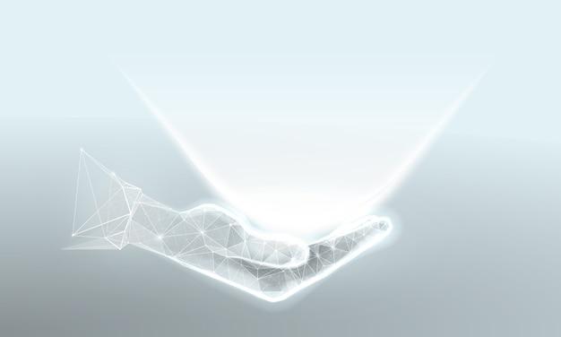 Main avec lumière dans un style filaire polygonal
