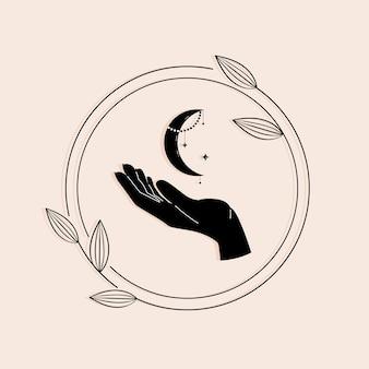 Main avec la lune dans un style tendance pour des illustrations mystiques