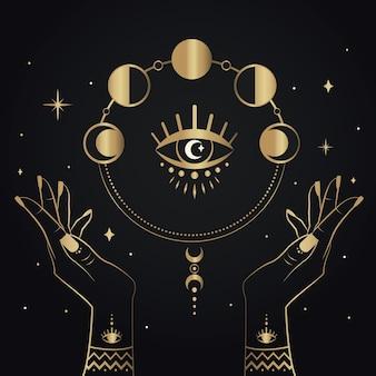 Main magique d'or dessiné avec des symboles et des étoiles de phases de lune