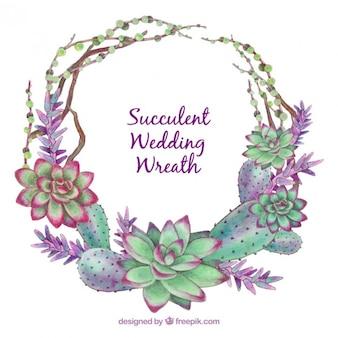 Main mariage peint couronne de fleurs composé de cactus
