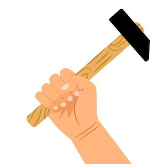 Main avec marteau