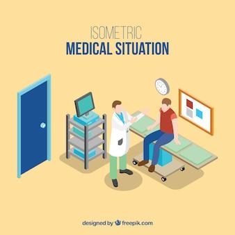 Main médecin établi avec l'illustration du patient