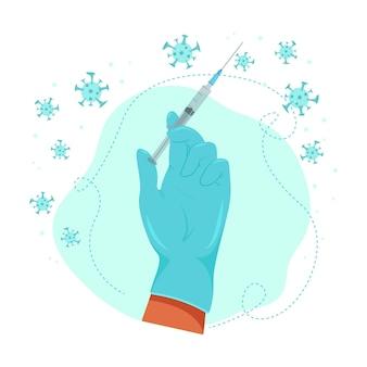 Main d'un médecin tenant une seringue avec une injection, vaccination contre le virus, médecine, illustration vectorielle dans un style plat.