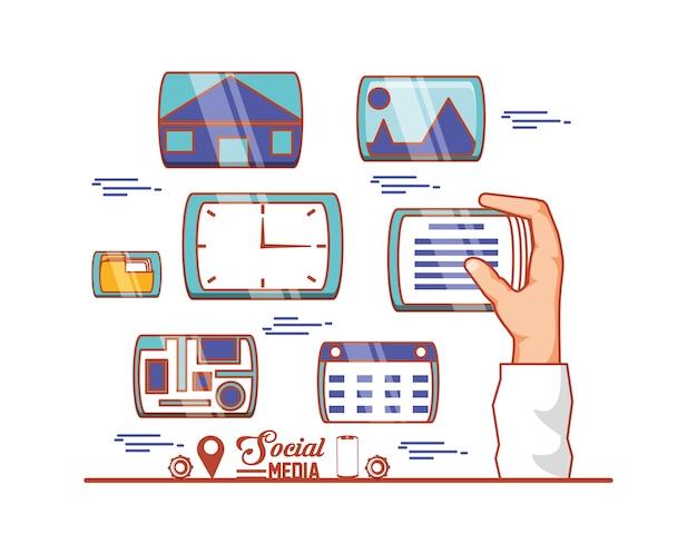 Main avec les médias sociaux définie des icônes vector illustration design