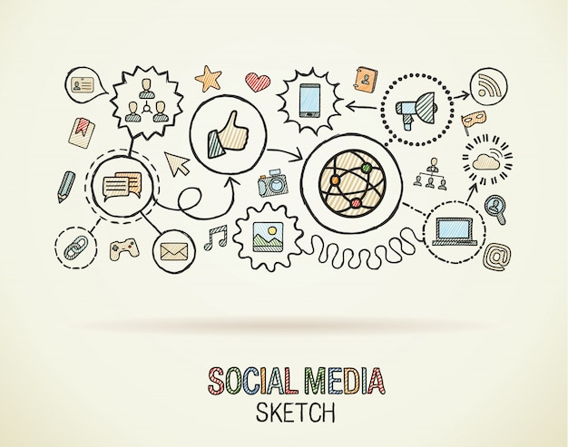 Main de médias sociaux dessiner intégrer des icônes sur papier. illustration infographique de croquis coloré. pictogramme de doodle connecté, internet, numérique, marketing, réseau, concept interactif global