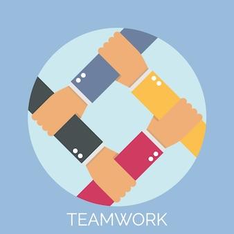 Main mélanger pour illustration de travail d'équipe