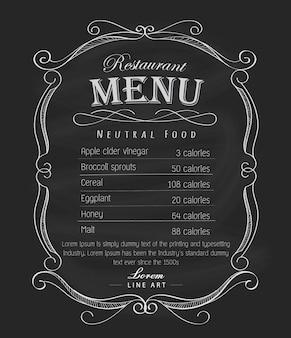 Main menu cadre tableau noir vecteur d'étiquette vintage dessiné