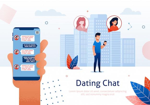 Main avec message à l'écran, relation virtuelle.