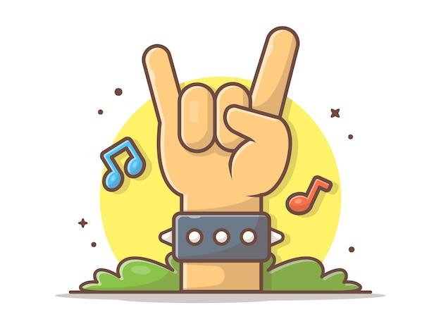 Main metal rock avec des notes de musique et illustration d'icône de musique tune. musique hardcore. métal lourd blanc isolé