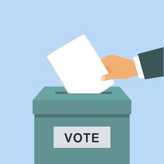 Main mettant un vote dans la boîte.