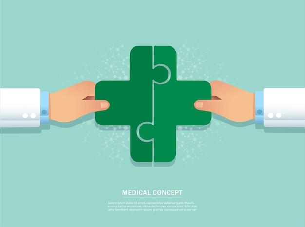 Main, mettre l'icône de puzzle madical ensemble