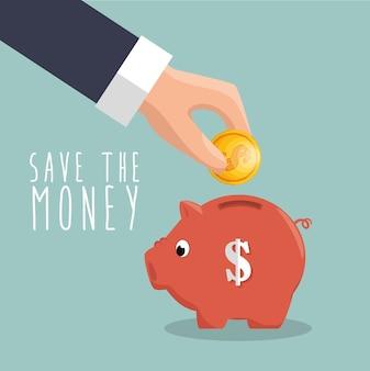Main mettre pièce cochon sauver l'icône de l'argent
