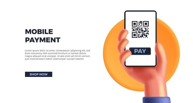 Main mignonne 3d tenant un smartphone pour le paiement mobile. société sans numéraire, code qr pour l'affichage des finances du produit de paiement par étiquette pour la banque