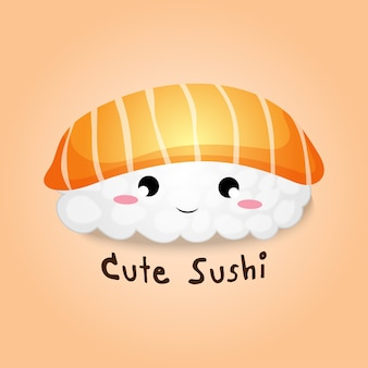 Main mignonne dessin dessin animé riz saumon sushi