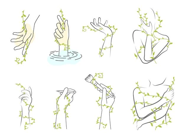 Main minimaliste et vigne avec doodle géométrique éléments floraux abstraits.