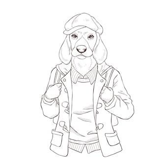 Main de mode rétro dessiner illustration de chien, noir et blanc le