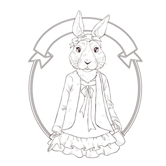 Main de mode rétro dessiner illustration de lapin, noir et blanc le