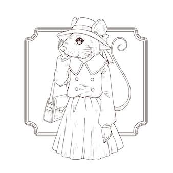 Main de mode rétro dessiner illustration de souris, noir et blanc le