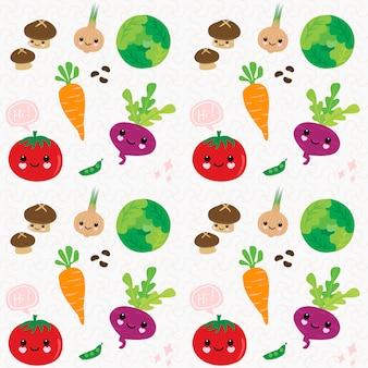 Main modèle sans couture dessiner des légumes mignons.