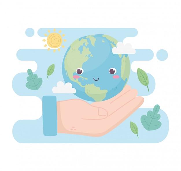 Main avec le monde laisse des nuages soleil environnement écologie