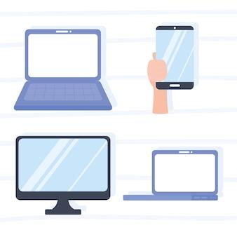 Main de moniteur d'ordinateur portable avec des appareils smartphone vector illustration