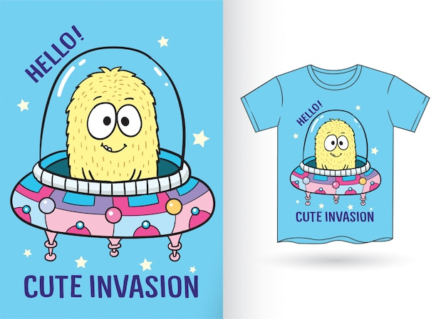 Main monstre mignon dessiné alien pour t-shirt