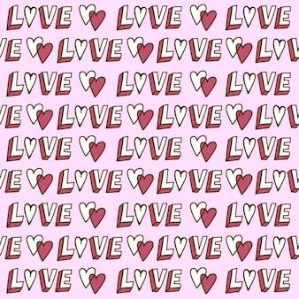 Main motif dessiné, mot amour