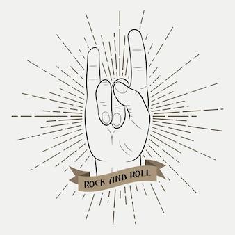 Main de musique rock and roll. graphique de typographie pour vêtements avec rayon de soleil et ruban. imprimez pour des t-shirts, des affiches, des vêtements. style hippie. illustration vectorielle.