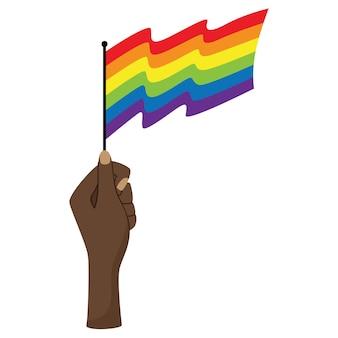 Une main noire levée tient un drapeau lgbt ondulant. symbole de tolérance, de solidarité, de lutte pour l'égalité