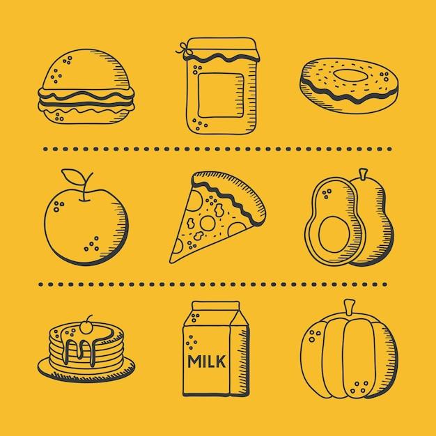 Main de nourriture dessiner et jeu d'icônes de style de ligne de manger restaurant et menu thème illustration