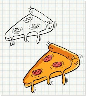 Main noyer ensemble de tranche de pizza