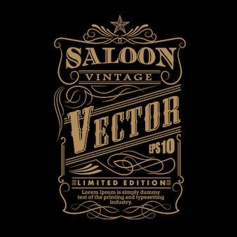 Main occidentale dessinée cadre étiquette frontière vecteur vintage illustratio