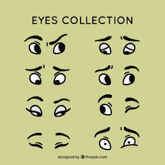 Main oeil dessiné collection ensemble