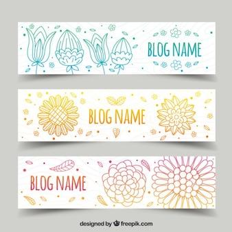Main ornementale tirée en-têtes de blog floraux