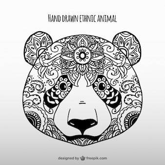 Main panda ethnique dessinée