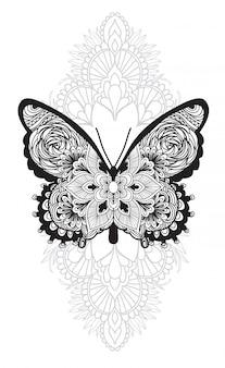 Main de papillon art tatouage dessin et croquis avec illustration art ligne