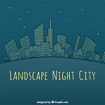 Main paysage dessiné nuit ville fond
