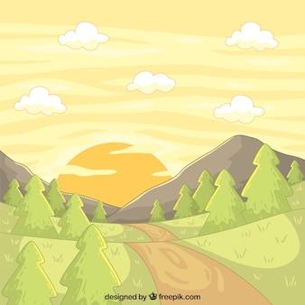 Main paysage dessiné