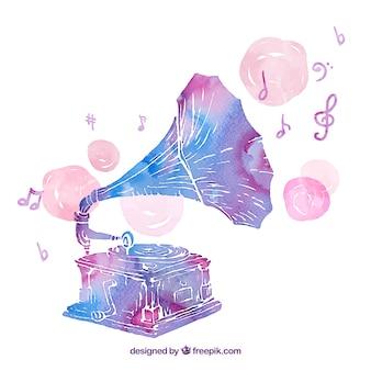 Main peinte gramophone
