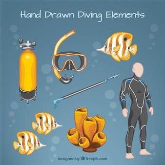 Main personne dessinée avec le matériel et les poissons de plongée