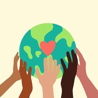 Main de personnes avec différentes couleurs de peau tenant earth globe icône symbole plat vector illustration