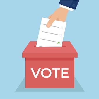 Une main place un bulletin de vote dans une urne. concept d'élection. illustration de conception plate.