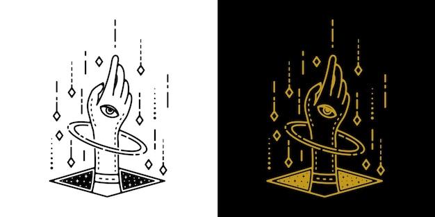 La main de la place avec la monoline de tatouage d'oeil et d'ornement