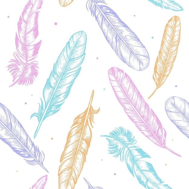 Main de plumes de couleur dessiner croquis boho ou motif de fond de style ethnique.