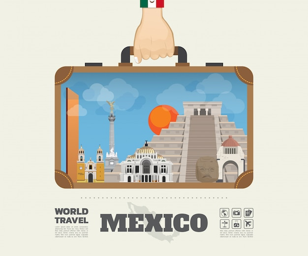 Main portant le sac d'infographie mexique landmark global travel and journey.