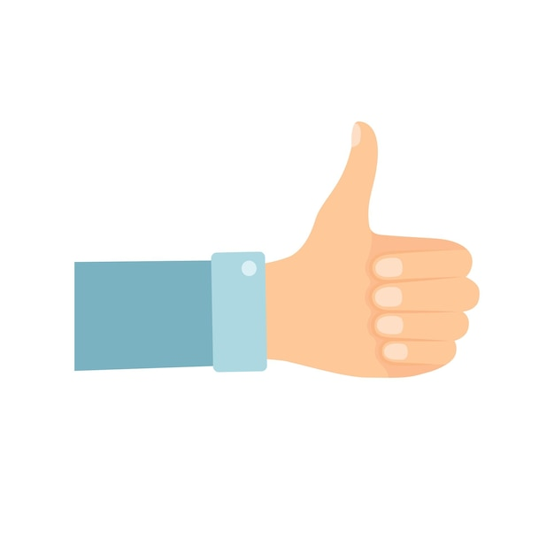 Main avec le pouce vers le haut sur fond blanc, illustration vectorielle