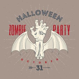 Main pourrie de zombie avec des ailes de chauve-souris - illustration d'art ligne halloween