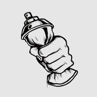Main presser la bouteille de peinture en aérosol illustration de dessin à la main