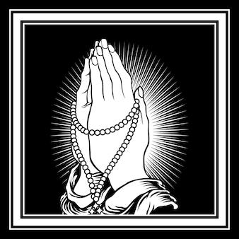 Main prier dessin à la main