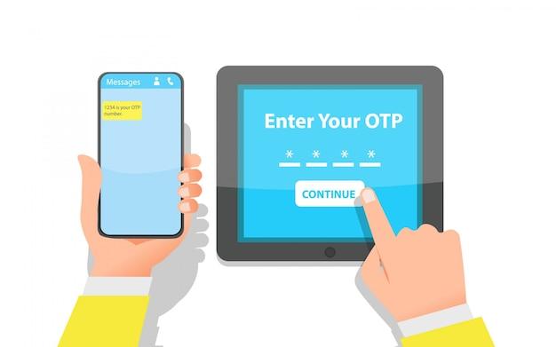 La main de quelqu'un entre le mot de passe à usage unique pour le processus de vérification